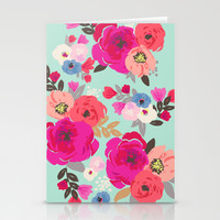 Sweet Pea Floral Aqua Multi color Stationery Cards by Crystal ★ Walen