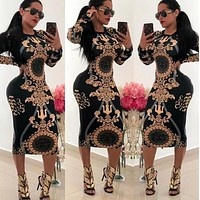 Versace Women Long Sleeve Print Dress
