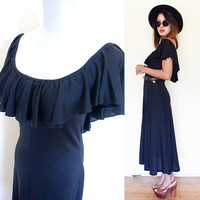 Vintage 70's hi low ruffle collar off shoulder hippie boho bohemian maxi party cocktail wedding dress gypsy goth gothic