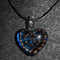 Murano Glass Heart (Blue) with Gold Glitter Dotted-Spiral Pendant Necklace