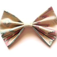 Large Hair Bow Clip - BIG Tribal Pattern Bow