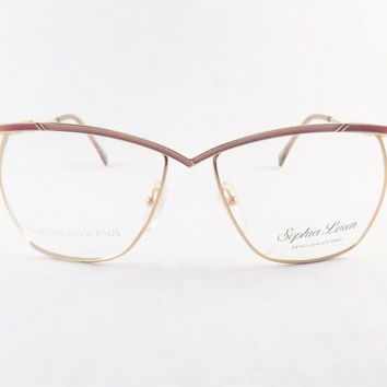 Womens Eyeglasses, Industrial Metal Frames, Funky Gold Pink or Silver Blue Frame Metal Glasses, 1970's Eyeglasses