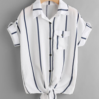 Striped Rolled Sleeve Knotted Top -SheIn(Sheinside)