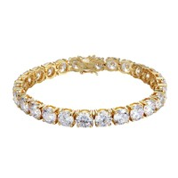 8mm Designer Solitaire 14k Gold Finish Tennis Link Bracelet