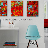 FREE SHIPPING Granada Roadtrip Triptych (3) 15 x 20 Canvas Prints from  Original Heavily Textured Contemporary Painting by Holly Anderson