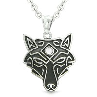 Celtic Wolf All Seeing Third Wisdom Eye Magic Amulet White Simulated Cats Eye Pendant 18 inch Necklace