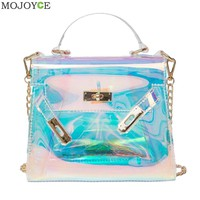 Blue Transparent Handbag Holographic Stachel Lady Purse Clutch Women Chain Messenger Bag Large Capacity Laser Lock Bag Beach Bag-in Crossbody Bags from Luggage & Bags on Aliexpress.com   Alibaba Group