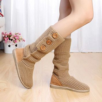 Wool snow boots flat bottomed high cylinder ladies snow shoes