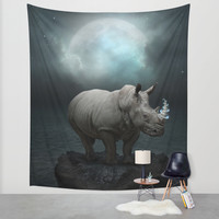 Power Is No Blessing In Itself v.1 (Protect the Rhino) Wall Tapestry by Soaring Anchor Designs