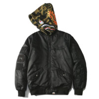 Bape Aape Autumn and winter new fashion shark tiger thick camouflage embroidery hooded long sleeve warm cotton hat removable clothing coat Black
