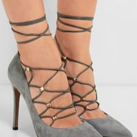 Valentino - Rockstud lace-up suede and leather pumps