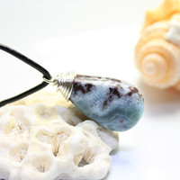Dominican Larimar Green Aqua Waves scenic coral brown island wire wrapped pendant silver plated, unisex men bohemian surf necklace handmade