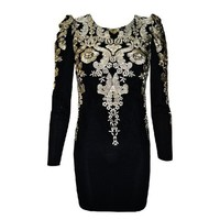 fashion gold Embroidered Vintage Puff Sleeve Dress from FE CLOTHING