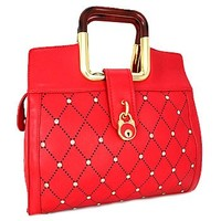Square Handle Rhinestone Studded Fashion Purse Red