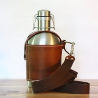 SS Growler Leather Carrier w/ Shoulder Strap and Stainless Steel Beer Growler