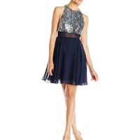 Speechless Junior's Sleeveless Chiffon Short Prom Dress with Sequin Popover Top