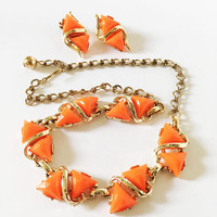 Vintage Mod Demi Parure, Orange and Gold Tone Clip On Earrings Necklace,  1950s 1960s Lucite Jewelry