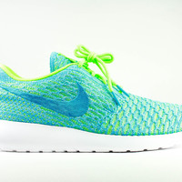 Nike Women's Roshe Run One Flyknit Electric Green Blue Lagoon