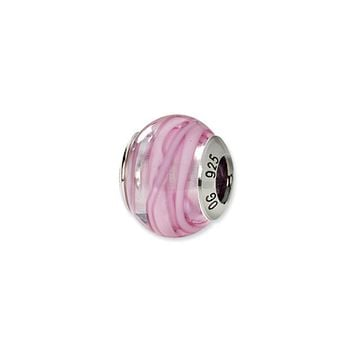 Sterling Silver, Pink and White Swirl Murano Glass Charm