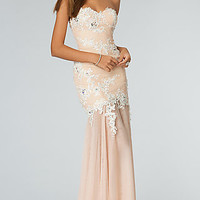 Long Strapless Sweetheart Lace Embellished Dress