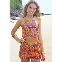 Printed neck hung sexy backless two-piece outfit