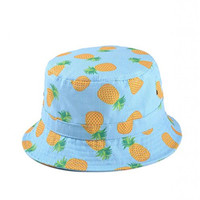 soyagift fruit pineapple and floral stripe flat bucket hat with cartoon pattern
