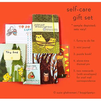 Boygirlparty Self Care Gift Set -- Puzzle book, mini journal, and more