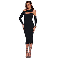 New Arrival 2016 Sexy Asymmetrical Off The Shoulder Sheath Bodycon Pencil Dresses Long Sleeve Bandage Night Club Party Dresses