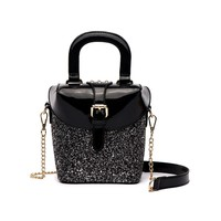 Black Glitter Metallic Vegan Leather Boxy Handbag
