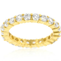 Elizabeth Clear Eternity Stackable Gold Ring | 4ct | Cubic Zirconia | 18k Gold | Sterling Silver