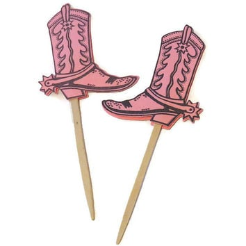 Cowgirl boot cupcake toppers, pink cowboy party decor