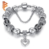 Fashion Silver Heart Charms Bracelet Bangle with Crystal Beads