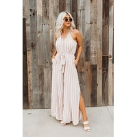 Ring It Up Striped Jumpsuit (Pink)FINAL SALE