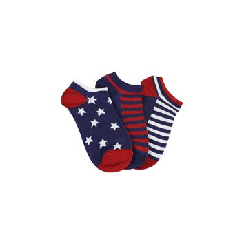 Three Pack Americana Footie Socks in Red, White, and Blue