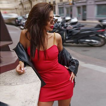 Fashion Solid Color Low Chest Sleeveless Metal Strap Tight Mini Dress