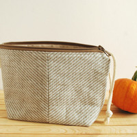 Rustic Linen Toiletry Pouch- Gift for Mom- Christmas Gift- Cosmetic & Lingerie Bags