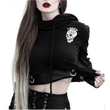 Fashion Stitching Screen Printed Skulls Motorcycle Girl Hooded Sweater