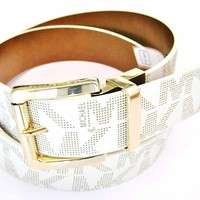 Michael Kors Women's Reversible MK Logo Leather Belt, Vanilla