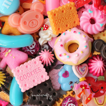100pcs decoden sweets mix with cute kawaii cabochons and embellishments for diy jewelry