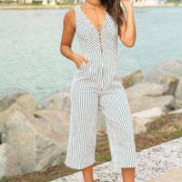 White and Navy V-Neck Striped Jumpsuit