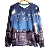 Chase Your Dreams Kitty Cat Wishing Upon A Star Print Pullover Sweatshirt