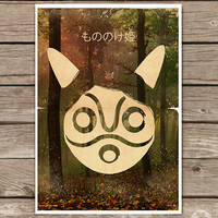 Princess Mononoke Hime Movie Poster III Mask - Vintage Style Magazine Retro Print Cinema Studio Watercolor Background - Pick your Size