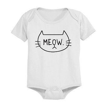 Meow Cat Face Baby Bodysuit - Pre-Shrunk Cotton Snap-On Style Baby Onesuit