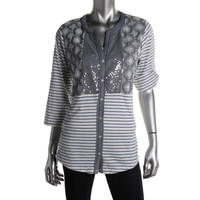 Style & Co. Womens Chambray Embellished Button-Down Top