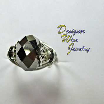 DWJ0234 Stunning Black Ice Solitaire Silver Wire Wrap Ring All Sizes