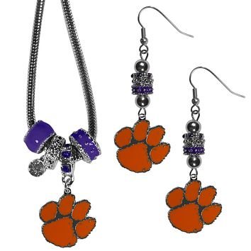 Clemson Tigers Euro Bead Earrings and Necklace Set