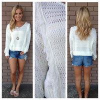 White Knit Fringe Crop Sweater