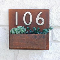 Metal Address Plaque And Succulent Wall Planter    12 X 12 Square With (3) Satin Nickel Address Numbers & Free Shipping