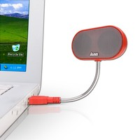 JLab USB Laptop Speakers - Portable, Compact, Travel Notebook Speaker for Windows PC and Mac - B-Flex Hi-Fi Stereo USB Laptop Speaker - Red Hot