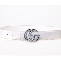 GUCCI Trending Unisex Smooth Buckle Belt Leather Belt White
